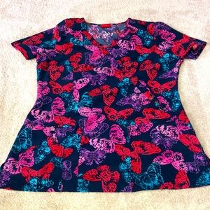 Dickies Medical Scrub Top Small Butterfly Print